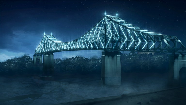 Illuminating the Jacques-Cartier Bridge.