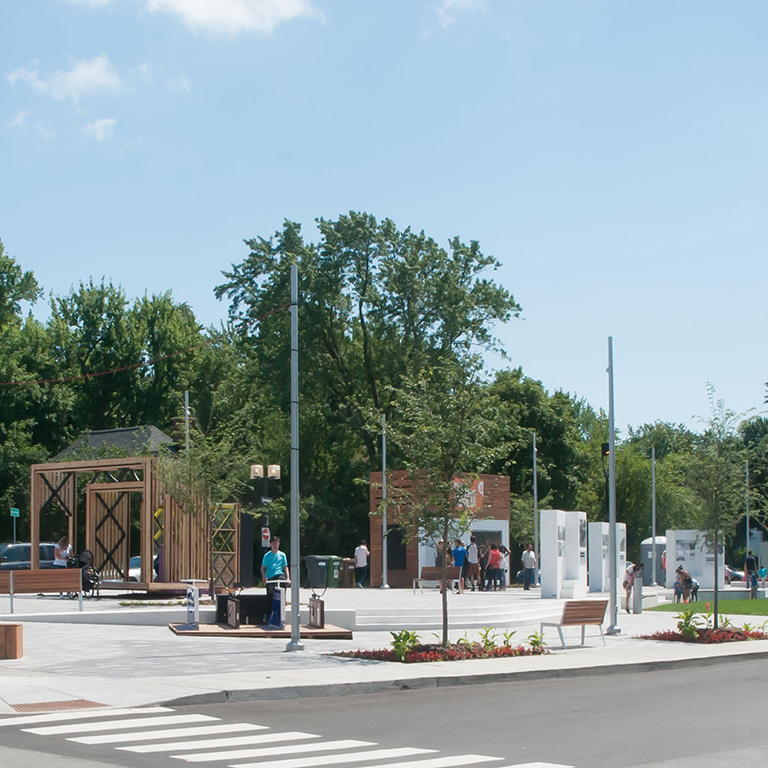 Public space in Saint-Laurent.