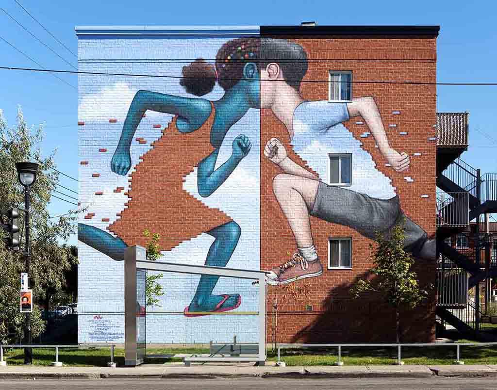 Murale située au 1800, rue Jarry Est, coin Papineau